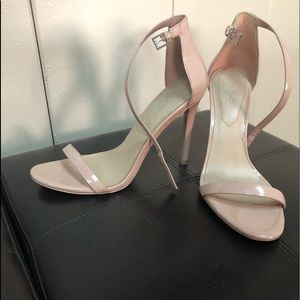 Excellent condition nude paten leather heels